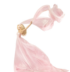 Woman Beauty Fashion Dress, Girl In Silk Gown Waving On Wind