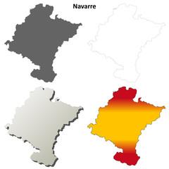 Navarre blank detailed outline map set
