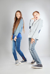 Young teenagers in studio.