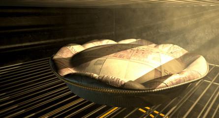 Euro Money Pie Baking In The Oven