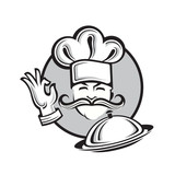 Illustration of a chef with dish