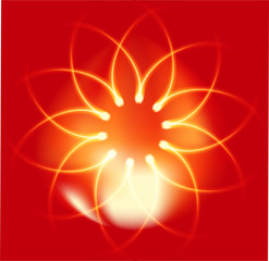 Fire Flower on red background
