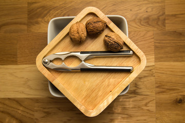 Walnuts and nutcracker, autumn time