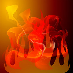 Fire On orange background
