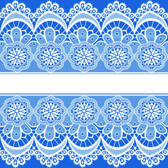 blue background with stripes of lace and place for text