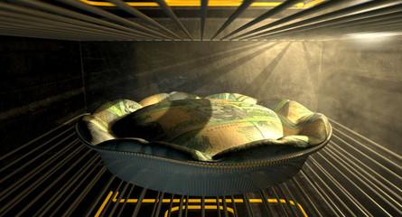 Australian Dollar Money Pie Baking In The Oven