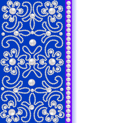 blue background with flowers of pearls and place for text