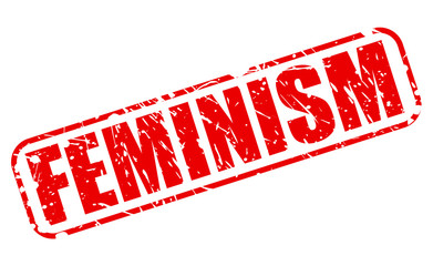 Feminism red stamp text