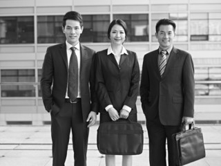 portrait of asian business people, black and white