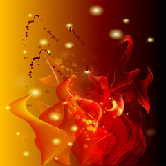 Orange fire background with dots