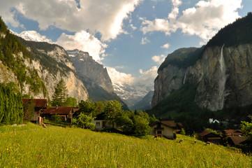 Beautiful Swiss Alps Mountain Valley Landscape
