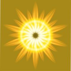 Ray Sunrise Burst fire circle yellow background