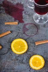 Spilled mulled wine and orange