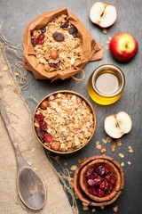 Granola, dried berries, nuts, apples and honey. See series