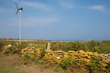 Private windmill in a wild island