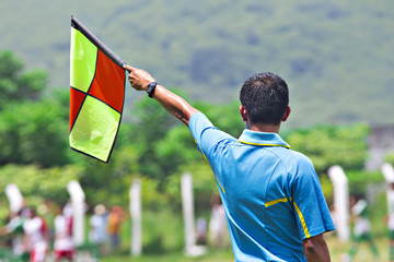 Linesman referee in soccer