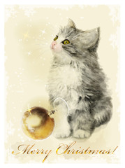 Christmas card  with fluffy kitten and golden ball. Vintage styl