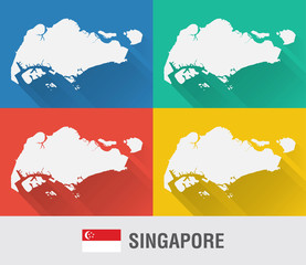 Singapore world map in flat style with 4 colors.