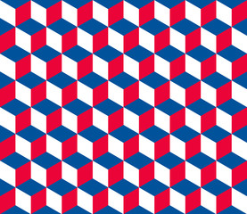Seamless hexagonal - cube pattern in colors of the Czech Rep.