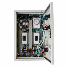 Electrical control box on isolated white with clipping path.