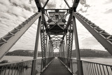 B&W bike bridge over lake. - 71089852