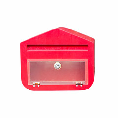 A red mailbox on isolated white with clipping path.