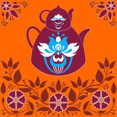 Vector Illustration a Teapot on a Orange Background.