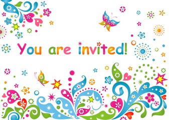 Funny colorful childish invitation