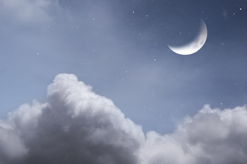 Starry Night Scene with Moon and Clouds and Stars
