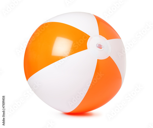 Colored inflatable beach ball on white background - 71091458