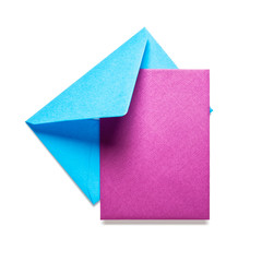 Blue envelope with pink card
