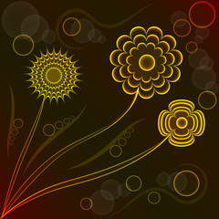 Abstract fantasy floral background,  flowers