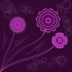 Abstract fantasy floral background, purple flowers