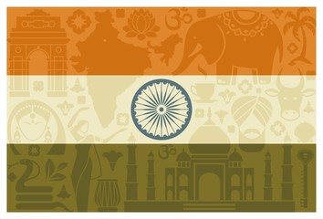 Flag with traditional symbols of India