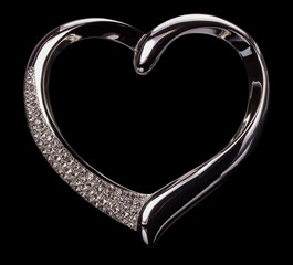 silver hearts on the black background