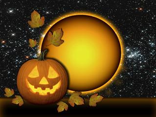 Calabaza, Halloween, sol, estrellas, hojas, tarjeta