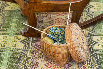 Knitting in Wicker Basket on Floor