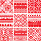 Fototapety Collections set of 9 red and white ornamental ethnic patterns