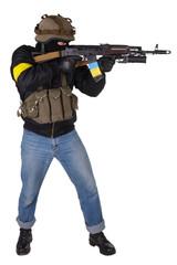 pro-Ukrainian volunteer with AK 47