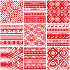 Collections set of 9 red and white ornamental ethnic patterns
