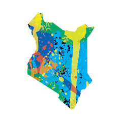 Illustration of a colourfully filled outline of Kenya
