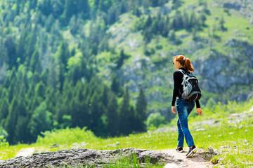Traveler is walking outdoor