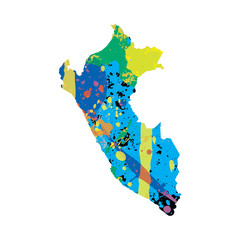 Illustration of a colourfully filled outline of Peru
