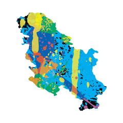 Illustration of a colourfully filled outline of Serbia