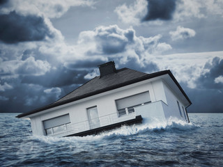 White house in water, flood