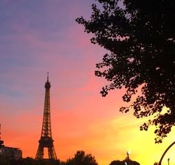 sunset in Paris, Eiffel tower on background