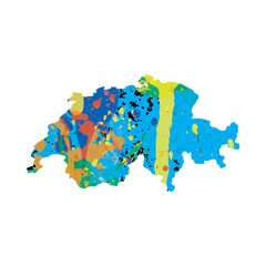 Illustration of a colourfully filled outline of Switzerland