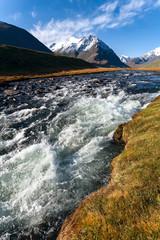 mountain river, mountains, glacier