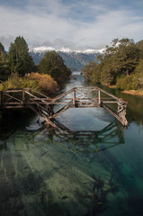 Old wooden bridge on Seven Lakes Road, Argentina