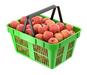 Red apples in the shopping basket